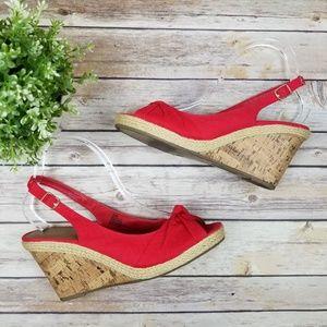 Seychelles Red Velvet Canvas Cork Wedge Sandals